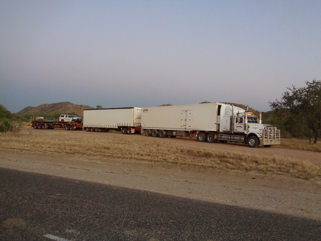 Roadtrain on roads around the Pilbara area
